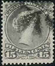 Canada #30 used F 1868 Queen Victoria 15c grey Large Queen Fancy Cork cancel