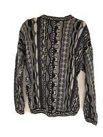 Vintage 90s Men's Coogi Style Sweater Knit 3D Multicolor Long Sleeve Tosani  XL