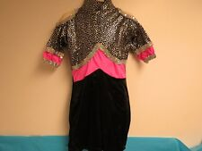 KIDS DANCE WEAR VALERRY COSTUME BLACK PINK SILVER SEQUINS SILVER STARS ROMPER