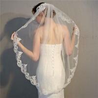 Women Bridal Wedding Veil Lace Edge Ivory White with Comb Fingertip Length Short