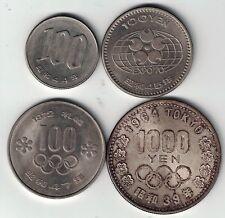 4 X JAPAN COINS YR 44 100 YEN EXPO 70 100 YEN 1972 100 YEN 1964 TOKYO 1000 YEN