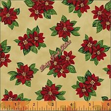 """WINDHAM  """"PAPER DOLL"""" #30865 CHRISTMAS POINSETTIAS FABRIC PRICED PER 1/2 YD"""