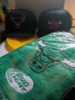 Two Chicago Bulls Caps And Unopened St. Patrick's day Budweiser Scarf