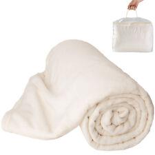 Tagesdecke Bettüberwurf Kuscheldecke Schlafdecke 220x240 cm weiß mit Tragetasche