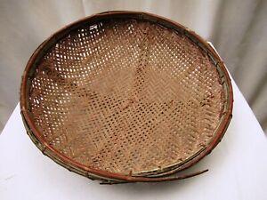 "Antique Burmese Basketry Sieve For Rice And Sesame Farmhouse Kitchen Utensil ""1"