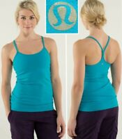 LULULEMON power y tank luon coolmax surge aqua blue racer back womens 8