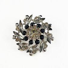 14k white Gold GF black flower elegant brooch pin with Swarovski crystals