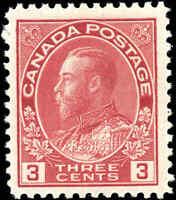 Mint H 1923 Canada F+ 3c Scott #109 King George V Admiral Stamp