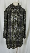 Vintage 50s Union Made Plaid Jackie O Mod MCM Woven Wool Peacoat Coat Womens L