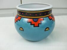 "Ecco Terra Painted Aqua Red Porcelain Small Planter Cachepot Southwest Style 5"""