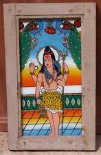 Ancien Fixe sous Verre Peinture sur Verre Shiva 38x63x3cm Glass Painting Inde