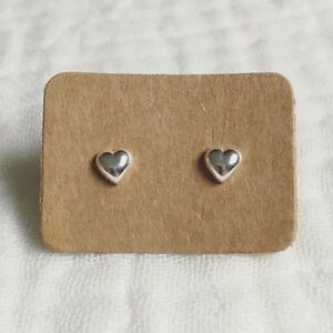 Silver Heart Earrings - Small Puffed Solid Sterling 925 Tiny Classic Heart Studs