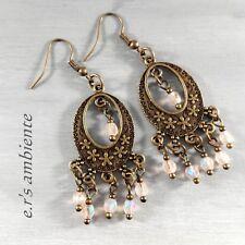 Ohrringe mit böhmischen Glasperlen, Bronze-Look, Ohrhänger, 0911