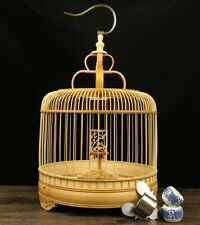 Asian Bamboo Bird Cage Round Carved Chinese Wooden Pet Nest Home