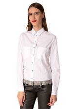 RRP €155 DIESEL Size S Women's C-RAIN Contrast Denim Hem Regular Collar Shirt