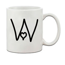 """W "" Love Hearts Initial Monogram Personalized Letter W Ceramic Mug Coffe Cup 1"