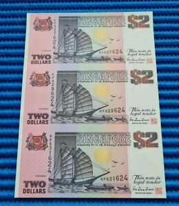 Uncut Sheet 3X Singapore Ship Series $2 Commemorative Note KP 527624 (NO FOLDER)
