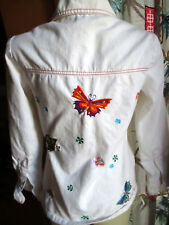 MEDIUM True Vtg 70s Denim Womens Embroided Butterfly White Hippy Disco Jacket