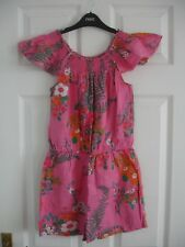 Girls Pink Floral 100% Cotton Next Shorts Playsuit Size 11 Years