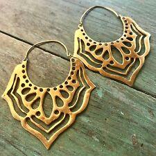 Lotus Flower Petal Cut-Out Festival Boho Earrings in Brass