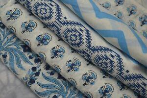 Indian Handmade Natural Hand Block Printed 10 Yard Cotton Fabric Print_705