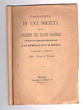 1879 - MILANO - TEATRO - CLETTO ARRIGHI - ACCADEMIA TEATRO MILANESE - PROPOSTA