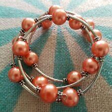 Spring Bracelet Wraps 3-4 times around Salmon Faux Pearls silver-tone