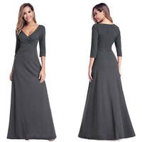 Ever-Pretty US 3/4 Sleeve Long V-neck Prom Dresses Pencil Evening Cocktail Gowns