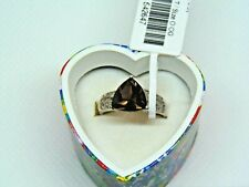 NWT Smokey Quartz Trillion Cut Stamped 925 Sterling Silver Ring Size 7