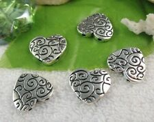 20PCS Tibetan Silver 2 holes  heart spacer beads A11151
