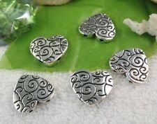 20PCS Tibetan Silver 2 holes  heart spacer beads A11151