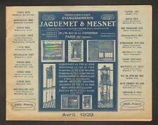 "PARIS (XV°) USINE de MONTE-CHARGE , VOLETS ""JAQUEMET & MESNET"" Catalogue en 1929"