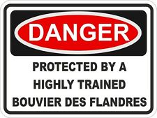 1x Danger Protected By Bouvier Des Flandres Warning Funny Sticker Dog Pet Decal