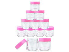 12 Pieces 30 Gram/30ml Plastic Clear Sample Jar Containers with Pink Flat Lids