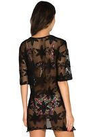 ON TREND NEW BLACK LACE NOTCH NECK TUNIC BEACH DRESS COVER UP KAFTAN SZ 6-16