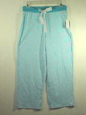Nautica Sleepwear Turquoise & White Striped 100% Cotton Lightweight Pants NWT L