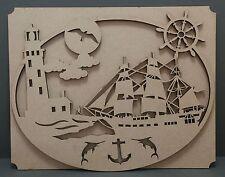 S156 Nautical Ocean Scene Ship Sailing Boat Wood MDF Plaque Sign Laser Cut Gift