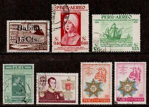 Peru Scott C41,C123,C124,C142,C152,C155,C157 Airmail 1936-58 Variety Used