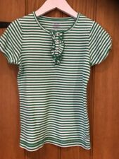 Mini Boden Lovely Girls Green & White Striped T Shirt Age 8-10yrs 100% Cotton