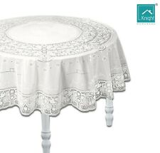 "White Table Cover Vinyl Plastic Embossed Tablecloth Round 54"" Lace Reusable"