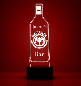 Bacardi LED Light Up Sign, with Remote Control, Engraved Bar/Mancave Lamp