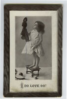 c 1910 Child Children Pretty Little GIRL w/ DOLL Cute photo postcard