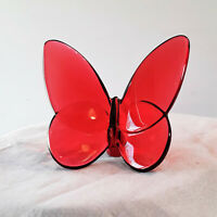 Red Baccarat Crystal Lucky Papillon Butterfly In Very Nice Condition