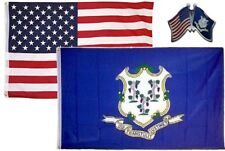 Wholesale Combo Usa & State of Connecticut 3x5 3'x5' Flag & Friendship Lapel Pin