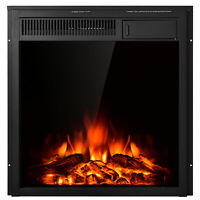 """22.5"""" Electric Fireplace Insert Freestanding & Recessed Heater Log Flame Remote"""