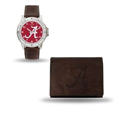 Alabama Crimson Tide Watch and Wallet Gift Set - Brown Leather Stainless Steel