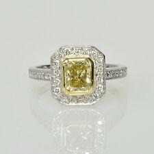 Platinum 18k 1.14Ct Fancy Yellow VS1 Diamond .28Ct Accents Halo Engagement Ring