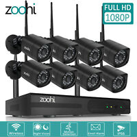 Zoohi 1080P Security Camera System Wireless Outdoor Home CCTV WIFI 8CH NVR Night