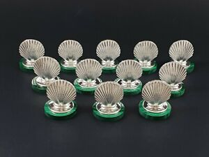 Malachite and sterling silver place card holders 925 shell name