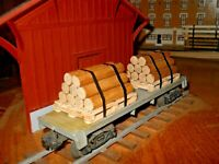 O-S scale-gauge Handmade Pallets with handmade log load for flat cars real wood